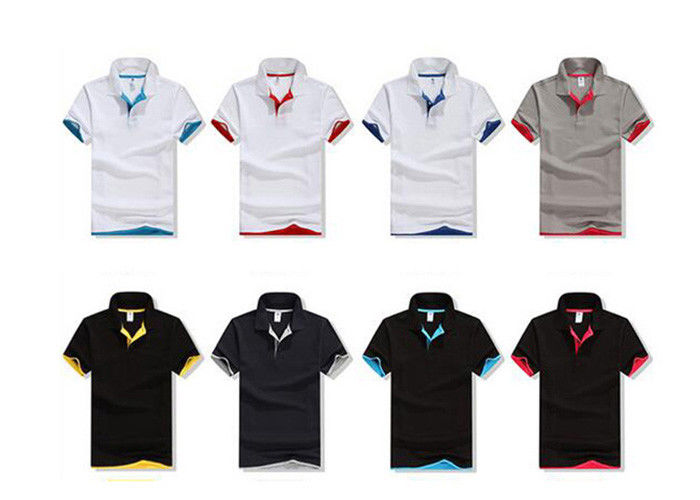 White Plain Cotton Golf Polo Shirts Advertising Breathable Cotton Golf Shirts