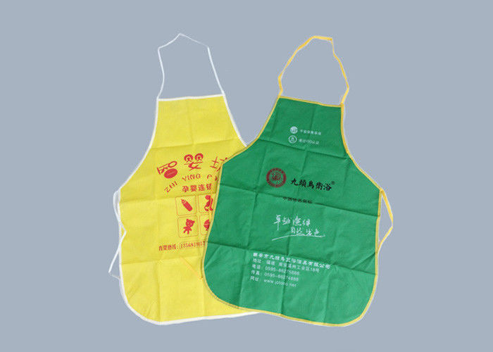 Disposable Plastic Promotional Printed Aprons With Waterproof Non Woven Fabric
