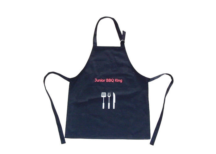 Adjustable Promotional Printed Aprons Recycle Personalised Black Apron For Waiter