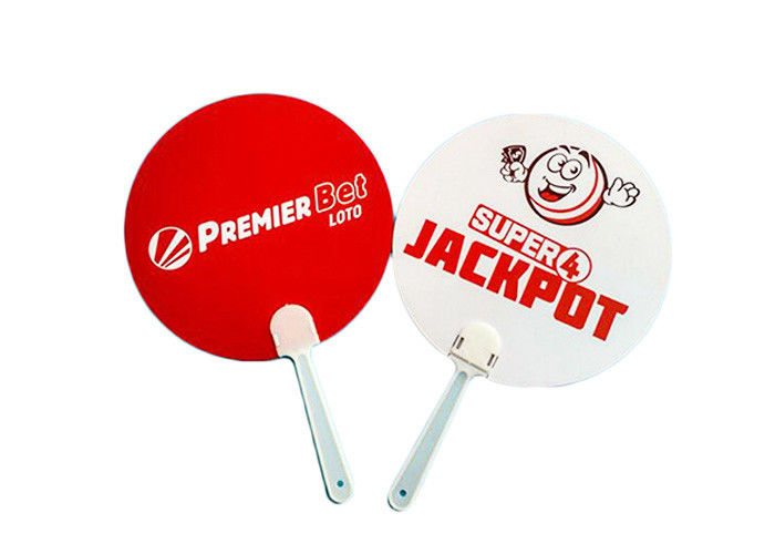 Full Color Custom Hand Fans Plastic PVC With Paper Bamboo Printing