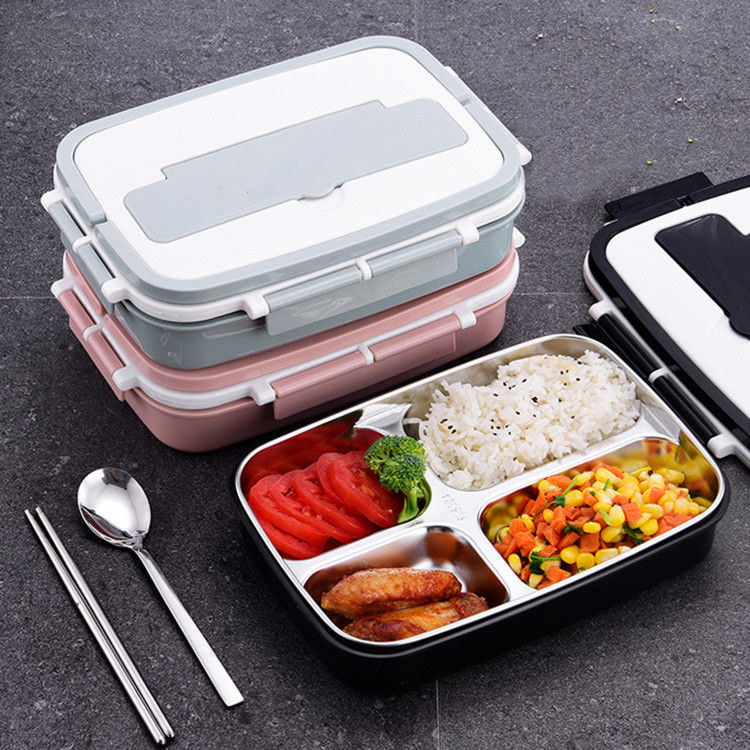 Food Grade 304 Stainless Steel Reusable Meal Containers 4 Compartment Bento Lunch Box